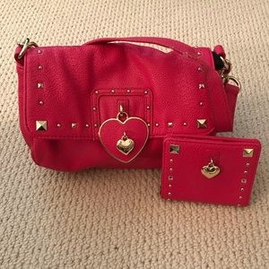 JUICY COUTURE Hot Pink Leather Bag Wallet Set